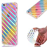 For iPhone 6 Plus /6S Plus Case, Coffeetreehouse Luxurious Series Anti Scratch Transparent Ultra Thin Colorful Plating Gradient Rainbow Designed Printed Drawing TPU Protective Case Cover for iPhone 6 Plus /6S Plus(parallel lines)