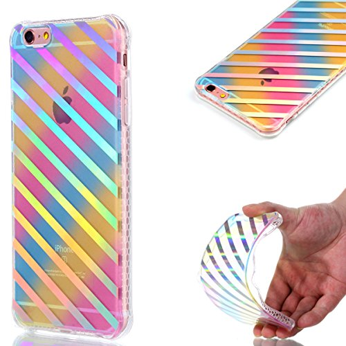 iPhone 6 Plus Coque Transparent Tpu,iPhone 6S Plus Étui en Silicone Mince avec Motif,JAWSEU [Double Face]Luxe Coloré Placage Cristal Clair Souple Gel Housse Etui de Protection,Bling Sparkle Case CLear Des rayures diagonales