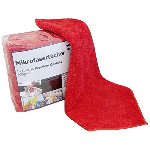 Preisvergleich Produktbild Premium Microfasertuch 40x40 cm 10er Pack Farbe nach Wahl Mikrofasertücher Putzlappen (rot)