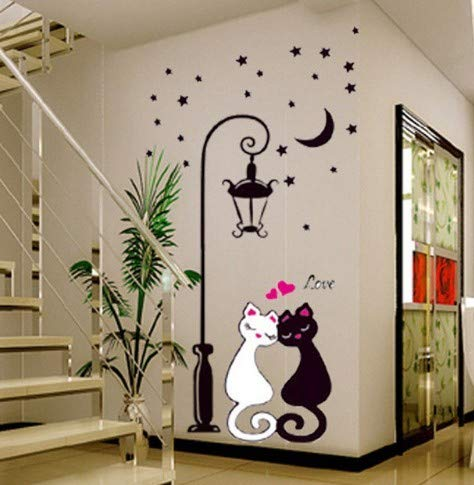 CMMO Más Reciente lámpara Caliente y Gato extraíble Etiqueta de la Pared Decal Art Vinilo Home Kids Room Decor