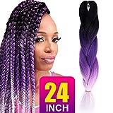 "Silike Silky Jumbo Braiding Hair (1 Piece) 24"" Afro Crochet Braiding Hair Extensions 3 Tone Ombre Colour(Black/Purple/Grey)"