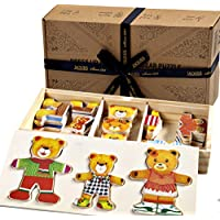 Jaques of London Family of Bears Jigsaw puzzle for kids Wooden Toys Dress up Game - Perfect toddler toys recommended Wooden Puzzle toys for 2 3 4 year olds
