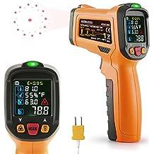 Termómetro Digital Infrarrojo Láser Janisa AD6530D Temperatura -50℃ a 800℃ Ambiental Digital Hogar Cocina Sonda Pistola de 12 Puntos Alarma de Temperatura Exhibición del Color Gran Pantalla LCD