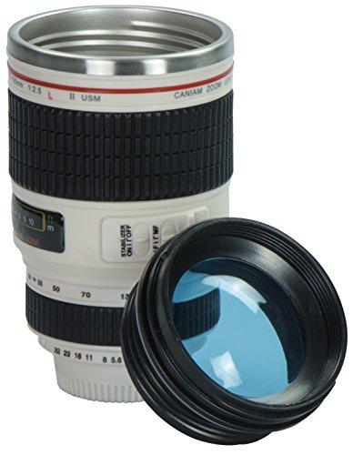 Grinscard Kaffeebecher mit Linsen Deckel - Weiß Kameraobjektiv Design 0,35l - Gadget Thermotasse für Unterwegs
