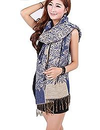 ANDI ROSE Women Ladies Fashion Long Warm Soft Tartan Scarf Scarves Pashmina Wrap Shawl (1256 Dark blue)