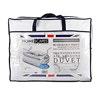 Homescapes - Luxury White Duck Feather & Down - All Seasons King Duvet 9 Tog + 4.5 Tog - 100% Cotton Anti Dust Mite & Down Proof Fabric - Anti Allergen - Box Baffle Construction - Washable at Home Range