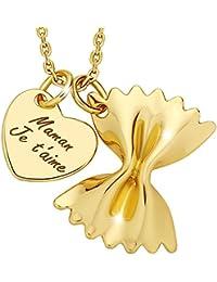 Marenja - Cadeau de fête des mères - Collier de nouilles Pour Mères Gravé Maman Je t'aime - Pendentif Cœur et Farfalle avec Chaîne - Bijoux Fantaisie en Plaqué Or