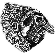 UM Joyería Vendimia Acero inoxidable Indio americano nativo gótico Cráneo Ciclista Hombres Anillos