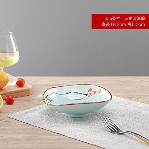 YUWANW Farbe Lotus Keramische Platten Glasur Empfohlene Hotel Geschirr Stimmung Küche des Kalten Gemüse Obst Gemüse Fächer Fach Salat, 6.5 Im Dreieck Wave Schüssel Wave Rice Bowl