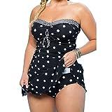 BAINASIQI Damen Elegant Push Up Bikini Set Polka Dots Badeanzug Bademode mit Röckchen GR.34-50 Große Größen Zweiteiliger (5XL, Schwarz)