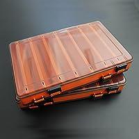 SODIAL Caja senuelo de la Pesca Caja de Aparejos de Doble Cara senuelo de la Pesca egi calamares Plantilla de Accesorios de Pesca Pesca Minnows Cebo trastos de Pesca contenedor Naranja