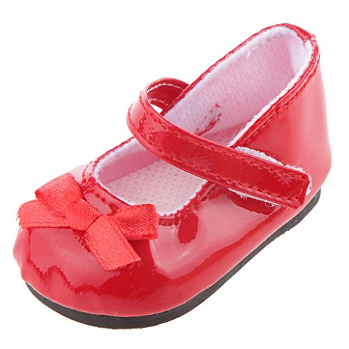 18 inch Doll Shoes with Bowknot Red
