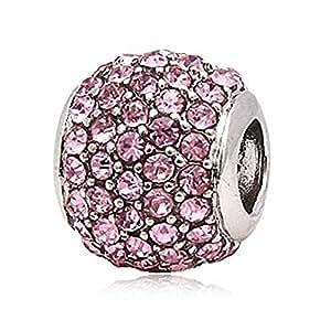 Andante-Stones perle Pavé Argent 925 avec zircons brillants (roses) Élément bille pour perles European Beads + Étui en organza