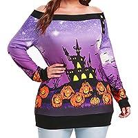 TWBB Damen Mantel,Herbst Winter Off Shoulder Halloween Slim-Fit Pullover Sweatshirt Outwear