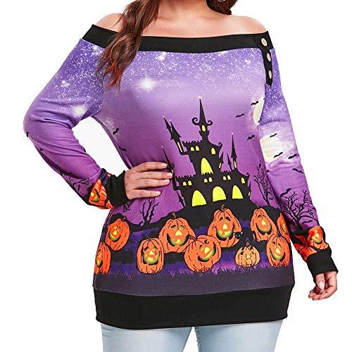 LOPILY Schulterfrei Oberteil Damen Halloween Kostüme Damen Kürbis Sweatshirt Halloween Burg Frankenstein Shirts 3D Tshirt Schulterfreie Oberteile Sensenmann Muster Gruselige Tops Sexy (Lila, 38) (Schneewittchen Kostüm Muster Für Erwachsene)