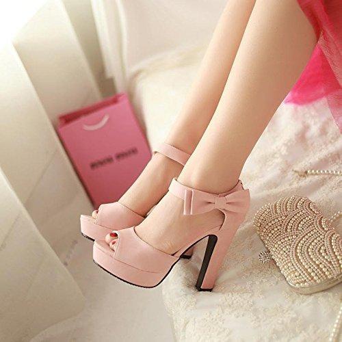 Minetom Donne Ragazze Elegante Sandali Tacco Alto Sandali Con Bowknot Peep Toe Scarpe Rosa