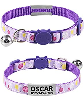 TagME Collier Chat Personnalisable Anti Étranglement,Nom Collier Chat,Collier Identification Chat,Violet