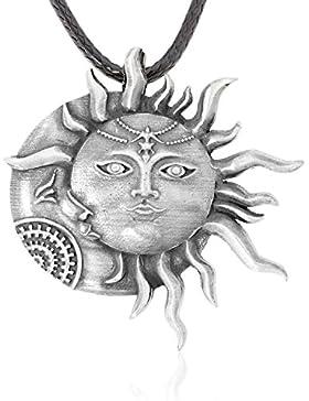 Llords Schmuck | Sonne Mond Gesicht Anhänger Halskette, feinster Zinn Metall Modeschmuck