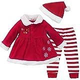 ZILucky Baby Mädchen Weihnachten Kostüm Weihnachtsmann Kleid Streifen Gamaschen Weihnachten Hut Outfit (74-80(Herstellergröße 80))