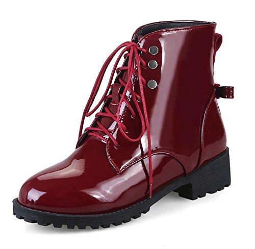 Honeystore Damen Stiefeletten Lack | Worker Boots Schnürer | Grunge Punk Schuhe | Leder-Optik Schnallen | Schnürstiefeletten Weinrot 35CN