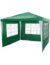 TecTake Tonnelle Tente Gazebo Pavillon de jardin d'événement bière pour fête de camping avec parties latérales 3 x 3 m vert