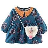 MEIbax Kleinkind Baby Lange Hülsen gebrochene Blumen Spitze Prinzessin Kleid + Bag Sets Sweatshirts Pullover Outfits Set