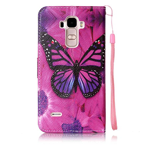 Feeltech LG LS770/LG G4 Stylus Hülle,LG LS770/LG G4 Stylus Magnet Leder Wallet Cover,Elegant Soft PU Kartenfach Extra Dünn Tasche Bunte Relife-Muster [Stand Funktion] Karte Halterung Klapp hülle Flip  Roter Schmetterling
