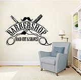 Xbwy Hair Cut Shaves Logo Wall Window Decals Barbershop Sign Wall Sticker Hair Salon Decor Removable Haircut Wall Vinyl Mural 42X29Cm