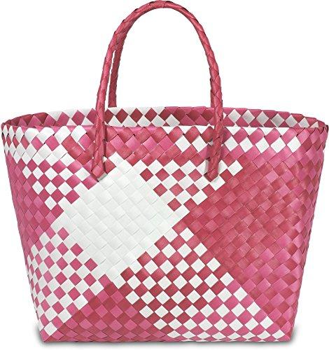 Kunststoff Flechtkorb - optimal als Einkaufs- oder Strandkorb geeignet Farbe Retro Block / Pink