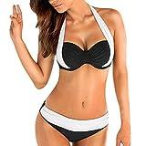 Damen Push-up drucken rückwärts Bandeau Badeanzug Shorts Frauen Bikini-Sets mit stahlstütze Brustpolster Bikini-Set Fashion Neckholder high Waist bauchweg-Effekt Schwimmanzug Streifen
