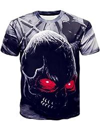 Camisetas Calaveras Hombre Casuales LHWY, Camisetas Negro con Estampado De 3D Cuello Redondo Blusa Suelto Manga Corto Verano