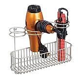 mDesign Soporte de Pared para secador de Pelo - Práctico Estante de baño con 4 divisiones para artículos de peluquería y 1 Cesta - Organizador de baño para secador, Plancha o rizador - Plateado