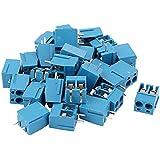 Bloque de terminales de tornillo - SODIAL(R) 30 piezas conectores de bloque de terminal de tornillo de montaje de 2P PCB de 2 vias de paso de 5,08mm azul