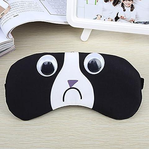 Augenmaske/Schlafmaske verstellbar Cute cartoon100% Baumwolle Augenklappe Augenmaske Reisen Big Sleep Patch atmungsaktiv lindern Müdigkeit Nerven Schutz(Schwarz)