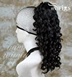 Black Ponytail Irish Dance Extension Spiral Curly Drawstring Hair Piece by Wiwigs