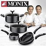 Monix Resistent Plus Bateria de Cocina de 5 Piezas y Lote de 2 sartenes de 20 y 24 cm, Apta para inducción, Aluminio, Negro