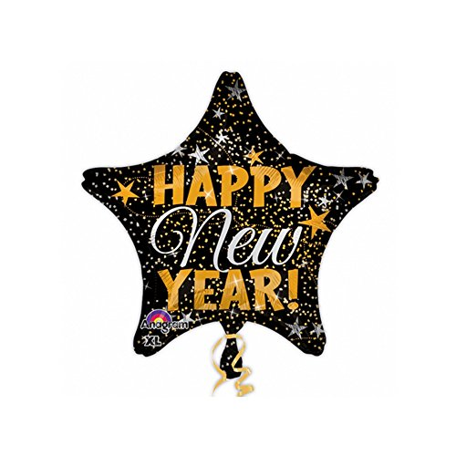 Amscan International 3144901 Happy New Year Confetti - Globo, color dorado y plateado