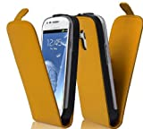 Cadorabo Hülle für Samsung Galaxy S3 MINI - Hülle in KILL BILL GELB – Handyhülle aus glattem Kunstleder im Flip Design - Case Cover Schutzhülle Etui Tasche