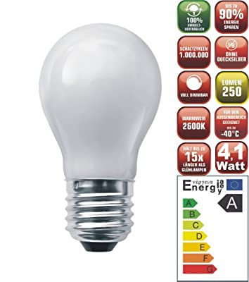 Die schicke + helle ENERGIESPARLAMPE LED Glühlampe matt (4,1Watt, 80 LED's, E27, dimmbar+warmweiß) von Energiesparlampen-NET bei Lampenhans.de