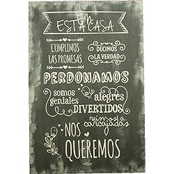 Carteles Vintage Madera Frases Normas de la Casa Artesanal Granito 40X60