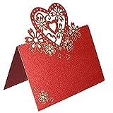 Aihome, segnaposto da tavola con nome per matrimonio, festa, compleanno, Natale, decorazione, omaggio, confezione da 50 Red