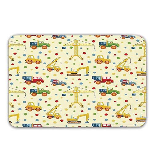 LIS HOME Kinder rutschfeste Fußmatte, Baumaschinen Spielzeug Drucken Bunte Punkte LKW Digger LKW Traktor Themed Print Fußmatte für Haustür Indoor Badematte
