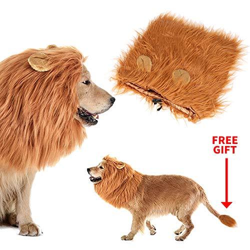 Calevin Dog Lion Mähne Kostüm Löwe Perücke mit Ohr für Halloween Weihnachtsfeier Lustige Hundehaar Passt Mittelgroße bis Große (Großer Hunde Urlaub Kostüm)