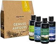 AllgäuQuelle Saunaaufguss-Set mit 100% BIO-Sauna-Öle 4x100ml - ✓ Allgäuer Erfrischung ✓ Allgäuer Naturluft ✓ A