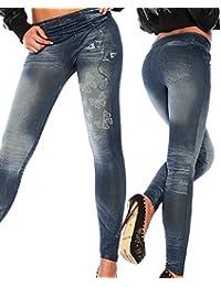 Mallas para mujer de vaquero sintético, ajustados, leggings, jeggings, elásticos, de