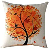 Ularma Dibujos animados de flor árbol de funda de almohada, sofá cintura tiro cojín tapa Home Decor (naranja)