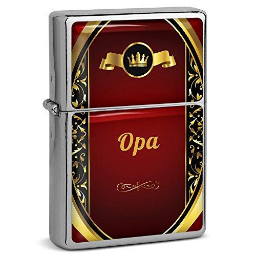 PhotoFancy® - Sturmfeuerzeug Set mit Namen Opa - Feuerzeug mit Design Wappen 1 - Benzinfeuerzeug, Sturm-Feuerzeug