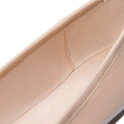VogueZone009 Femme Pu Cuir Non Talon Rond Couleur Unie Tire Chaussures à Plat Abricot