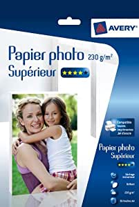 Avery 35 Feuilles de Papier Photo 230g/m² A4 - Impression Jet d'Encre - Brillant - Blanc (2497)