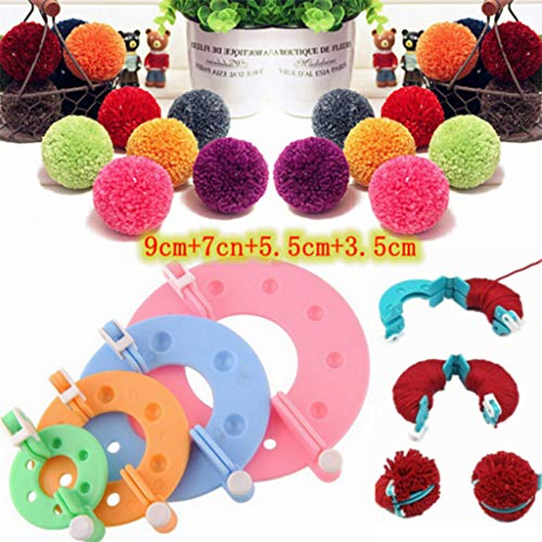 Deng Xuna Pompom Maker Bommel Maker 8 Stück 4 Größen Fluff Ball Weaver Stricknadel Handwerk DIY Tool Kit Bobble Craft Set Ballhersteller für Mützen Schals Basteln Dekoration (Mehrfarbig)